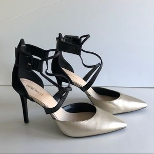 Nine West champagne leather suede stiletto heels 8